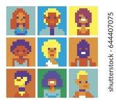 avatars design pixelate funny... | Shutterstock .eps vector #644407075