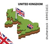 isometric map and flag of... | Shutterstock .eps vector #644411611