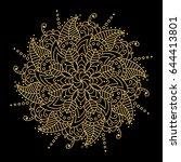 golden vector pattern on black... | Shutterstock .eps vector #644413801