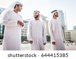three arabic men bonding... | Shutterstock . vector #644415385