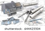 3d house on design sketches and ... | Shutterstock . vector #644425504