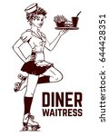 cute diner waitress in quad... | Shutterstock .eps vector #644428351