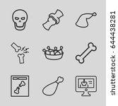 bone icons set. set of 9 bone... | Shutterstock .eps vector #644438281