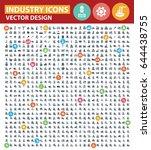 industry icon set clean vector | Shutterstock .eps vector #644438755