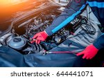 servicing car air conditioner....   Shutterstock . vector #644441071