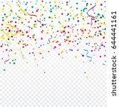 colorful confetti and ribbon... | Shutterstock .eps vector #644441161