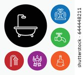 set of 6 drop outline icons... | Shutterstock .eps vector #644448211