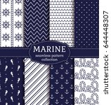 set of marine and nautical... | Shutterstock .eps vector #644448307
