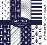 set of marine and nautical... | Shutterstock .eps vector #644448325