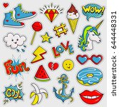 cute and trendy patches.... | Shutterstock .eps vector #644448331