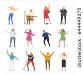 singer character vector... | Shutterstock .eps vector #644449375