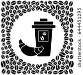 black and white glass of coffee ... | Shutterstock .eps vector #644451295
