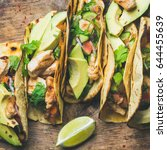 tacos with grilled chicken ... | Shutterstock . vector #644455639