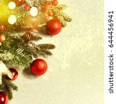 christmas card with fir and... | Shutterstock . vector #644456941