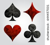 set of playing card suits  ... | Shutterstock .eps vector #644457031