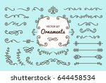 Set Collection of Vintage Ornament Elements on Blue Background