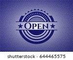 open badge with denim texture | Shutterstock .eps vector #644465575