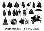 king characters in pictogram... | Shutterstock .eps vector #644470831