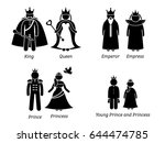 royal family. pictogram set... | Shutterstock .eps vector #644474785