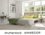 white bedroom with green... | Shutterstock . vector #644485339