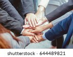 many hands of business people... | Shutterstock . vector #644489821