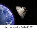 Apollo 13 space capsule orbiting Earth in space - stock photo