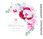 luxury floral crescent shaped... | Shutterstock .eps vector #644494309