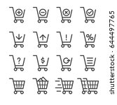 shopping cart thin line icons   Shutterstock .eps vector #644497765
