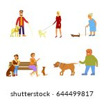 Stock vector people walking with different breeds of dogs set isolated on white background vector illustration 644499817