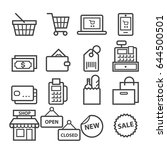 shopping thin line icons | Shutterstock .eps vector #644500501