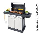 barbecue gas grill with food...   Shutterstock . vector #644502655