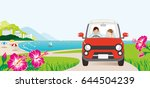 car driving in the seaside road ... | Shutterstock .eps vector #644504239