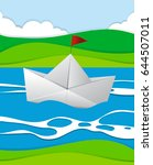 paper boat floating in the... | Shutterstock .eps vector #644507011