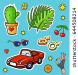 background with fashion patch... | Shutterstock .eps vector #644508214