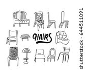 chairs doodle style... | Shutterstock .eps vector #644511091