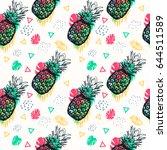 seamless pattern. hand drawn... | Shutterstock .eps vector #644511589