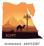 map of egypt with the image of... | Shutterstock .eps vector #644513287