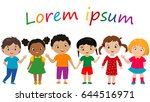 funny cartoon children. vector... | Shutterstock .eps vector #644516971