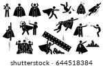 stickman super human superhero. ... | Shutterstock .eps vector #644518384