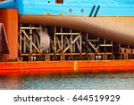 ship   rear view with propeller ... | Shutterstock . vector #644519929