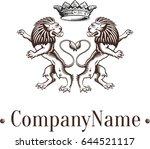 heraldic symmetrical lions... | Shutterstock .eps vector #644521117