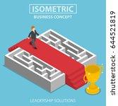 flat 3d isometric businessman... | Shutterstock .eps vector #644521819