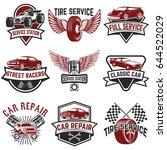 set of tire service  car repair ... | Shutterstock .eps vector #644522029