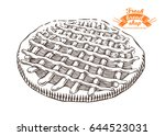 hand drawn pie in engraving... | Shutterstock .eps vector #644523031