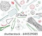 cooking italian pasta template. ... | Shutterstock .eps vector #644529085
