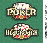 vector logo poker and black... | Shutterstock .eps vector #644535754