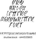 hand drawn dry brush font.... | Shutterstock .eps vector #644535805