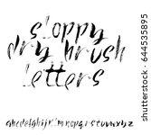 hand drawn dry brush font.... | Shutterstock .eps vector #644535895