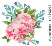 hand painted watercolor bouquet ... | Shutterstock . vector #644542039
