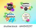 set of summer sale background... | Shutterstock .eps vector #644545297